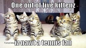 One out of five kittenz  iz nawt a tennis fan