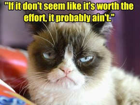 """If it don't seem like it's worth the effort, it probably ain't."""