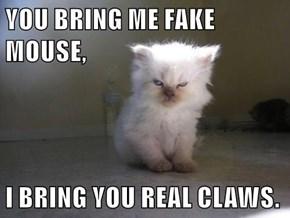 YOU BRING ME FAKE MOUSE,  I BRING YOU REAL CLAWS.
