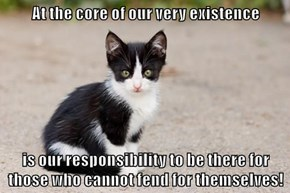 At the core of our very existence  is our responsibility to be there for those who cannot fend for themselves!