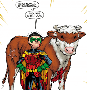 The new sidekick: Bat-Cow!