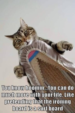 You know hoomin...You can do much more with your life. Like pretending that the ironing board is a surf board