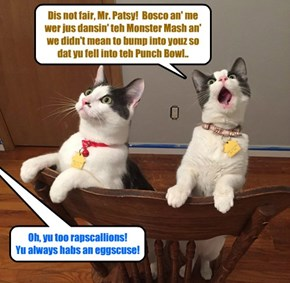KKPS Prom 2015: Bosco an' Kibby wer sent to teh Time Owt Bawks by Shaperone Mr. Patsy.. and Kibby protests der innosens!