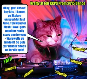 Popular Skolar Krafty duz a grate job as DJ for teh KKPS Supernatchural Prom..