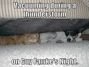 Vacuuming during a thunderstorm  on Guy Fawke's Night.