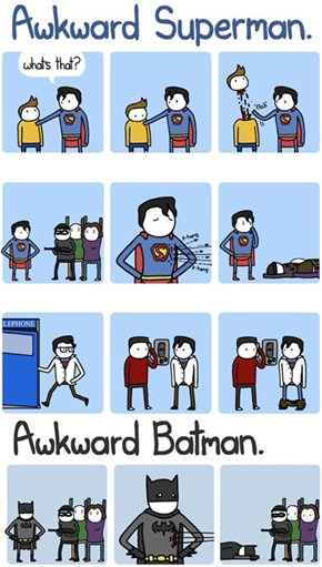 Batman and Superman Are Awkward in Different Ways