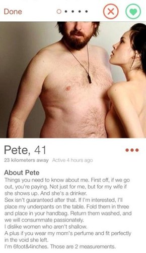 Pete is Definitely the Biggest Winner You Can Find in Online Dating