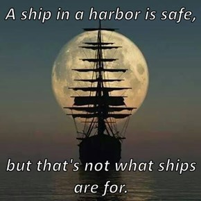 A ship in a harbor is safe,  but that's not what ships are for.