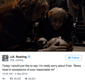 JK Rowling Says She's Sorry for Fred