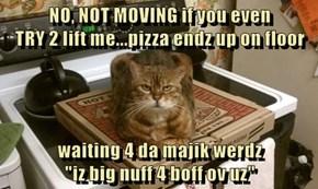 "NO, NOT MOVING if you even                                       TRY 2 lift me...pizza endz up on floor  waiting 4 da majik werdz                                                     ""iz big nuff 4 boff ov uz"""
