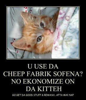U USE DA  CHEEP FABRIK SOFENA? NO EKONOMIZE ON  DA KITTEH