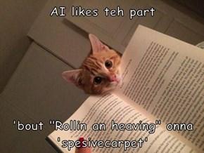 "AI likes teh part   'bout ""Rollin an heaving"" onna 'spesivecarpet'"