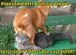 Happy Smothers Day, says goggie!  Just wait til' Fathers Day, says kitteh!