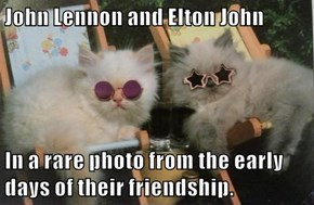 John Lennon and Elton John  In a rare photo from the early days of their friendship.