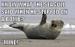 "KNOW WHAT THE SEAGULL SAID WHEN HE STEPPED ON          A BOMB?  ""MINE!"""