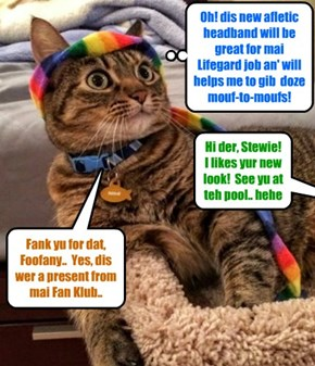 Kamp Lifegard Stewie Bellbottoms looks bery dapper in teh colorful new sports headband dat he wer awarded to hims by teh Stewie Fan Klub at Kamp..