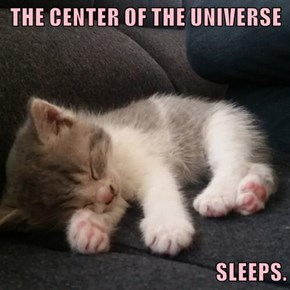 THE CENTER OF THE UNIVERSE  SLEEPS.
