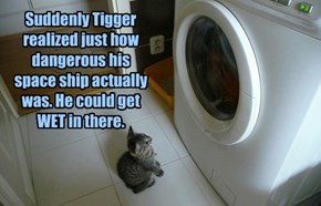 Suddenly Tigger realized just how dangerous his space ship actually was. He could get WET in there.