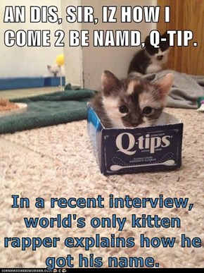In a recent interview, world's only kitten rapper explains how he got his name.