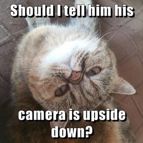Should I tell him his  camera is upside down?