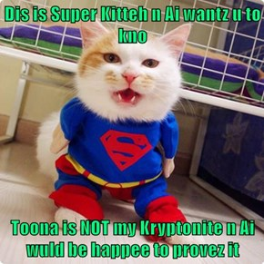 Dis is Super Kitteh n Ai wantz u to kno  Toona is NOT my Kryptonite n Ai wuld be happee to provez it