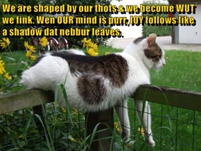 We are shaped by our thots & we become WUT we fink. Wen OUR mind is purr, JOY follows like a shadow dat nebbur leaves.