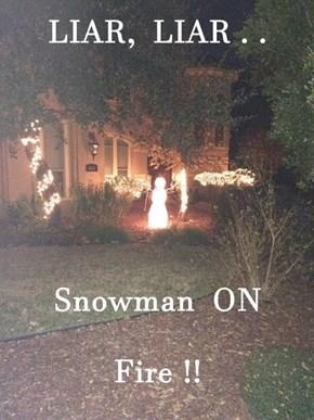 LIAR,  LIAR . .  Snowman  ON  Fire !!
