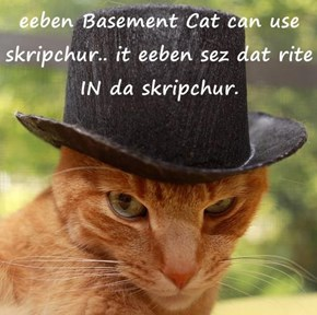 eeben Basement Cat can use skripchur.. it eeben sez dat rite IN da skripchur.