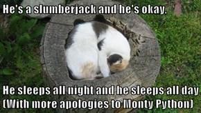 He's a slumberjack and he's okay,  He sleeps all night and he sleeps all day     (With more apologies to Monty Python)