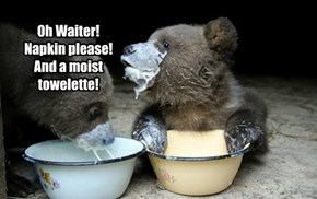 Oh Waiter! Napkin please! And a moist towelette!