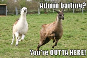 Admin baiting?  You're OUTTA HERE!