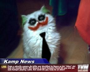 "Kamp News - From a sekurity camera dis kittie wer identified by Bosco as teh ""Alien"" dat took hiz moobie ticket. Mrs Nonono & most Kampers thawt dis guy wer jus sum Kamper playing a joke. But could dis guy realy be an Alien?"