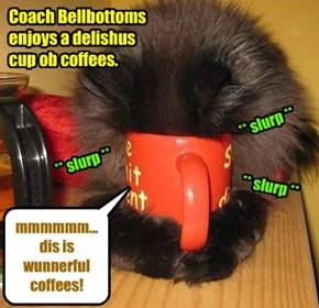 "KAMP 2015: Coach Bellbottoms sez, ""Chef Punkin makes teh bestest coffees! Dat's for shur!"""