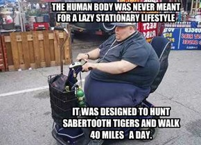 THE HUMAN BODY WAS NEVER MEANT  FOR A LAZY STATIONARY LIFESTYLE