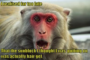 I realised far too late  That the sunblock I thought I was  putting on was actually hair gel.