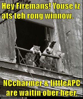 Hey Firemans! Youse iz ats teh rong winnow.  NCcharmer & littleAPC are waitin ober heer.