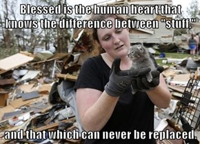 "Blessed is the human heart that knows the difference between ""stuff,""  and that which can never be replaced."