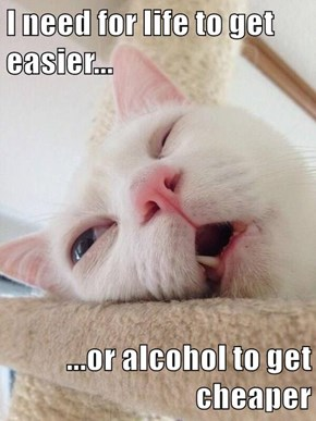 I need for life to get easier...  ...or alcohol to get cheaper