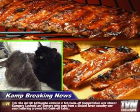 Kamp Breaking News - Teh ribs dat Mr AllThumbs entered in teh Cook-off Competishun wer stolen! Kampers Lustroid an' Shmerg who com from a distant foren country wer seen loitering arownd teh Cook-off table..