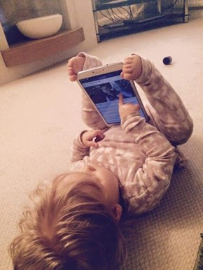 Toddlers Have a Built-In Tablet Stand WIN!