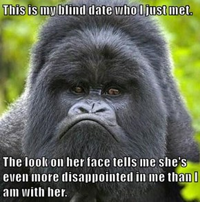 This is my blind date who I just met.  The look on her face tells me she's even more disappointed in me than I am with her.