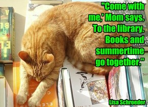 """""""Come with me,' Mom says. To the library. Books and summertime go together."""""""