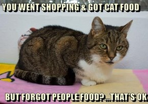 YOU WENT SHOPPING & GOT CAT FOOD  BUT FORGOT PEOPLE FOOD?...THAT'S OK