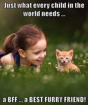 Just what every child in the world needs ...   a BFF ... a BEST FURRY FRIEND!