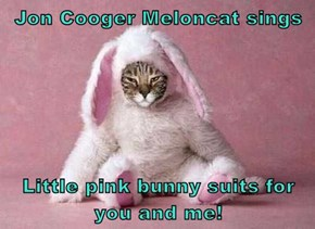 Jon Cooger Meloncat sings  Little pink bunny suits for you and me!