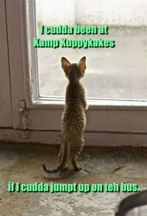 I cudda been at  Kamp Kuppykakes            if I cudda jumpt up on teh bus.