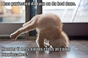 I has purfected da spin on da hed dans.   Wonder if ders a dans class at camp kuppiecakes?