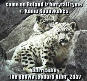 "come on Roland iz furrytail tyme                  @ Kamp Kuppykakes  deh readin                                                              ""The Snowy Leopard King"" 2day"