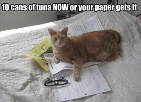 10 cans of tuna NOW or your paper gets it