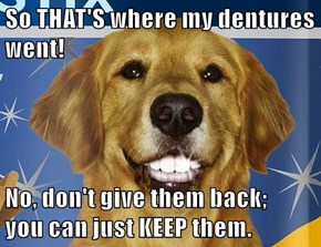 So THAT'S where my dentures went!  No, don't give them back;                                            you can just KEEP them.